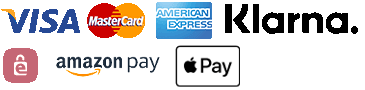 Mastercard, Paypal, American Express, Visa, Sofort, EPS, Klarna, Amazon Pay, Apple Pay